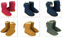 Wholesale 2015 women s Bailey Bow Australia Lady Cowskin leather snow boots winter shoes for women boots XMAS gift