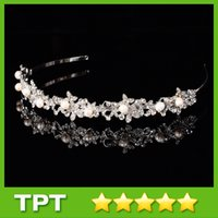 Cheap 2015 Shining Beaded Crystals Wedding Tiaras Crowns Bridal Crystal Veil Tiara Crown Women Headband Hair Accessories for Party Wedding F-011