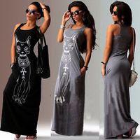 Wholesale 2015 women summer Sexy Casual Boho Long Maxi Evening Party Beach Dress Vest Gray cat Sundress