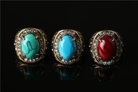 Wholesale Peraonality European And American Fashion Retro Diamond Ring Turquoise Beaded Antique Gold Plating Ring For Fashion