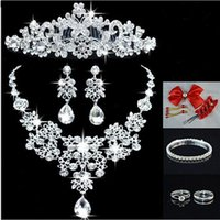 Wholesale New Luxury Hot Sale Shining Bling Crystals Wedding Party Bridal Bridesmaid Tiara Crown Necklace And Earrings Jewelry Set