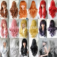 """Cheap hot sell1 Pcs 31"""" 80cm Heat Resistant Bang Long Wavy Curly Cosplay Anime Wigs Party Lot 8 Colors FOR Free Shipping"""