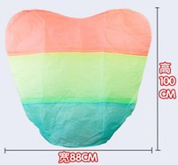 Cheap Rainbow Heart-shaped Paper Flying Chinese Lantern Kongming Light Floating Wedding birthday Party valentines gift