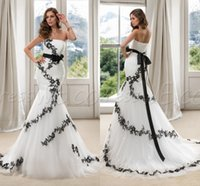 wedding black and white - Black and White Mermaid Wedding Dresses Backless Long Sexy Spring Bridal Dress China Cheap Beach Strapless Vintage Ball Gowns With Lace