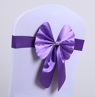 Wholesale 2015 New Arrival Wedding Chair Sashes Wedding Decorations pieces set Satin with Comb Purple Pink Green many colors