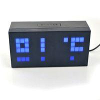 envío libre digital de gran tamaño jumbo LED azul pared del Snooze del escritorio de la tabla del calendario del despertador