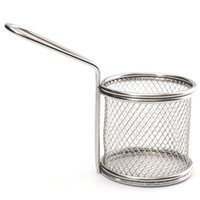 Wholesale Novelty Kitchen Cooking Tools Mini Stainless Steel French Fries Net Fry Fryer Basket Small Round Net x8x7 cm