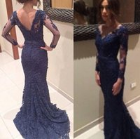 Wholesale Navy blue lace evening dress with sheer illusion long sleeves V neck buttons zipper back mermaid sweep train prom party wedding guest gowns