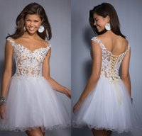 sexy mini short - Modern Lace Tulle Short Homecoming Dresses A Line Off Shoulder Cap Short Sleeves Mini Lace Up Backless Sexy Prom Party Gown Top Quality