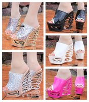 Wholesale 2015 Fashion Shoes Summer Slippers Wedges cm Platform Hollow Out Heel Beach Slippers cm High Heel Wedges Casual Sandals For Women