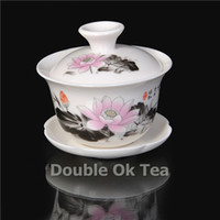 Wholesale Lotus Painting Porcelain Gaiwan ml Ceramic Kungfu Tea Set Bone China Tea Cup Service