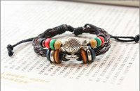 Cheap Chinese National Style Leather Bracelets Little Fish Beads Bracelet For Handmade Vintage Jewelry Free Shipping