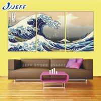 Традиционного искусства Морской пейзаж Пейзаж Холст Картина 3 панели Декорация Unframed Изображение большая волна Off Канагава Кацусика Хокусай