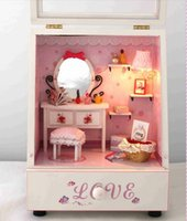 Wholesale Novelty Wooden House With Music Box Kids Eaducational Assembly DIY Perfect Lovers Room Doll House With Lamps