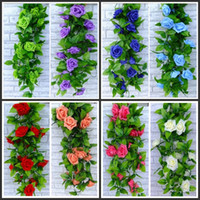 beige color walls - 240CM long Artificial rose Silk Flower Vine Green Leaf Vine Garland for Home Wall Party Decorations color in stock