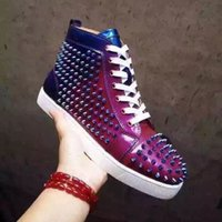 Wholesale New Fashion Women Man Genuine Leather Colorful Lace up Rivets Spike Studded High Top Casual Shoes Sneakers Luxury Brand Mens Flat Shoes