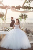Ball Gown arab wedding dress - 2017 White Ball Gown Tulle Princess Wedding Dresses Lace Up Back Off the Shoulder Puffy Bridal Wedding Gowns with Lace Applique Saudi Arab