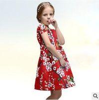 european fashion dress - 2015 wlmonsoon High Grade Retro Floral Girls Short Sleeve Dress New Childrens European Style Fashion Dress