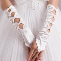Wholesale Satin Wedding Gloves For Sale Bowknot Long Length Hand Gloves Bridal Gloves Fingerless Flower Bridal Gloves Bridal Hand Gloves