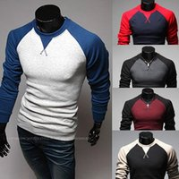 Wholesale 2015 spring new men s long sleeved round neck collar fashion Slim spell color brand t shirt men M XXL