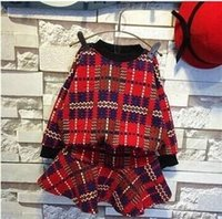 mini plaid skirt - 2015 Kids Spring Clothes Girls High Grade Plaid Long Sleeve Set Round Neck T shirt And Mini Skirt Pieces Set