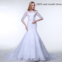 Wholesale Elegant Sheer Lace Wedding Dresses Luxury With Beads Half Sleeve Cheap Bateau Sash Vintage Mermaid Dress Bridal Gowns Hot Sexy Pleated