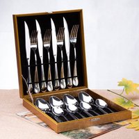 flatware - set Western stainless steel Flatware Cutlery Sets knife fork spoon set western tableware dinnerware set