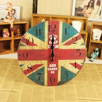 antique wooden frames - Fashion mute fashion picture frame clock word flag antique wooden wall clock home wall decoration
