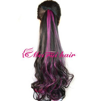 Wholesale hot Ms Black Streaked rosy red long curly hair ponytail BHPINK3