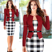 bandages business - Fashion Sexy Women Long Sleeve Autumn Dresses Plaid Bandage Bodycon Business Pencil Formal Dress OL Clothing for Girls