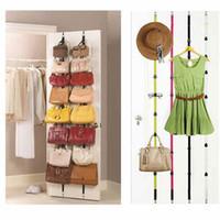 adjustable wire rack - Over Door Straps Hanger Hooks Adjustable Hat Bag Clothes Coat Rack Organizer set DHL