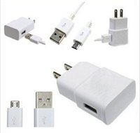 Wholesale White Original EU US Wall Charger V A USB Data Cable For SamSung Galaxy S2 S3 S4 S5 Note III N9000 II N7100