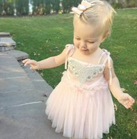 sundresses - 2016 Baby Girls Sequins Lace Tulle Party Gown Dresses Sundress Outfits Costume Y