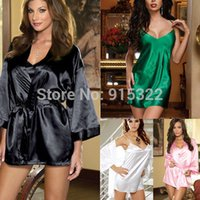 babydoll slips - 7 Colors SET WOMEN SATIN SEDUCE SLIP GOWN ROBE BABYDOLL CHEMISE SIZE