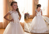 girl first communion dress - First Communion Dresses For Girls Scoop Backless With Appliques and Bow Tulle Ball Gown Pageant Dresses