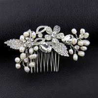 bridal hair ornament - Handmade Flora Crystal Bridal Hair Comb Freshwater Pearls Wired Headpiece Wedding Hair Accessories Uk Usa Ca Brides Headwear Ornaments New