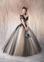 Wholesale 2016 Sexy Gothic Wedding Dresses Black and Champagne Off Shoulder Ball Gown Tulle Sweep Train Cap Sleeve Sheer Bridal Gowns Applique Custom