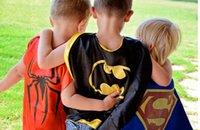 Wholesale Superhero Kids Superma Double fabric Superhero Kids Cartoon Capes Superman Batman Spider man boys girls Kids Capes Halloween Children Capes