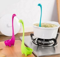 Wholesale Dinosaurios Loch Ness Monster Nessie Design Ladle Spoons Nessie Ladle Vertical Long Handle Plastic Spoon Curved handle Spoons For Kids
