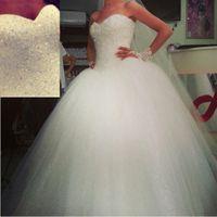 white corset - Wonderful White Beaded Corset Bridal Ball Gown Wedding Dresses Vestidos de Novia Tulle W3761