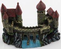 Wholesale Castle Resin akuarium dekorasi tangki ikan buatan ornamen gua persembunyian lansekap akuarium aksesoris