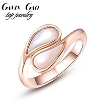 Cheap Wholesale-New Arrival Fashion ROXI Brand Rose Gold Plated Opal Water Drop Natural Stone Rings For Women Girls Wedding Jewelry