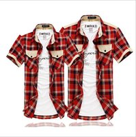 Wholesale South Korea Men S Fashion - Wholesale-Men's Leisure Fashion Short Sleeve Shirts South Korea Style Grid Color Male Summer Shirts For Charming Men