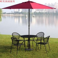 Wholesale Ou shi wrought iron outdoor eat desk and chair open air cafes metal leisure chair umbrella combination