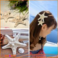 Wholesale Womens Girls Pure Natural Starfish Beach Sea Star Hairpin Sweet Hair Clip Lovely Barrette holiday edge clip