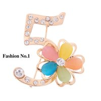 austrian clothes - Trendy opal Austrian Crystal peal Brooch Pins With k Gold Plated for women girls clothes Jewelry accessory