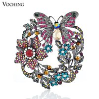 Wholesale Butterfly Brooch Women Jewelry Accessories Brooch Vintage White Gold Plated Colors Flower Large Collar Pin Vx Vocheng Jewelry