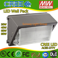 Wholesale Oversea warehouse stock CREE LED W W lm led wall pack Outdoor Wall Mounted light meanwell driver DLC ETL Listed V led lightig