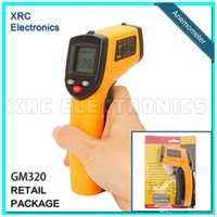 Wholesale Retail Package GM320 Non Contact IR Infrared Digital Temperature Gun Thermometer C F Emissivity A5