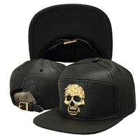Wholesale 3 colors black New crocodile leather Fashion Skull Hip hop Baseball Cap Adjustable Snapback Unisex